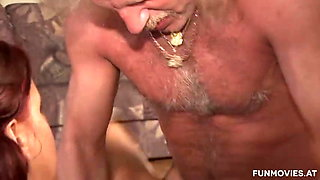 Pissing and cumming on his younger skinny wife