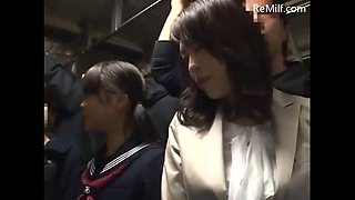 Sensitive japanese mature mom was groped to orgasm on the bus