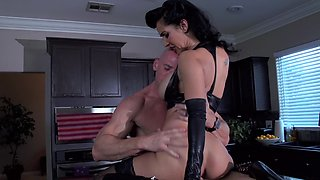 Cuckold porn scene by incredible mistress and bald lover