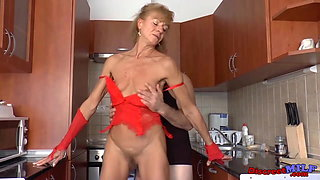Short haired skinny grandma getting large dick standing up