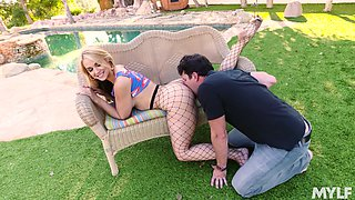 Excellent back yard fucking with the beautiful next door MILF