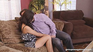 Swinger couples play seductive sex games in a sizzling foursome