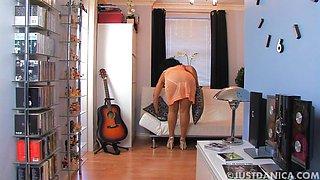Horny solo MILF Danica Collins enjoys teasing the camera. HD
