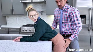 Skinny babe Lily Larimar enjoys riding a large dick in the kitchen