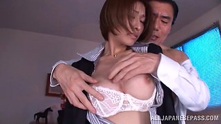 Lustful Brunette in stockings rides her boss cock doggystyle