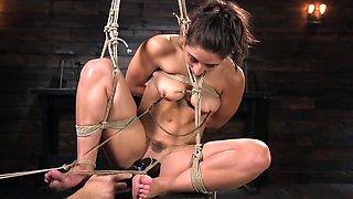 Hot brunette bound and punished in hot BDSM action