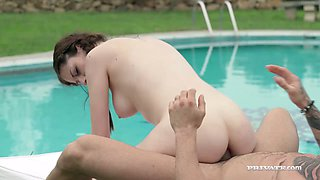 Pigtailed pale skinned GF Rebecca Volpetti gets her asshole stretched by the pool rough