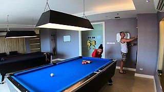 Amateur couple playing pool and have sex