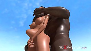 Young girl fucked hard by a huge black cock on a wild island