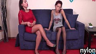 Italian Lesbians Foot Massage Wearing Sexy Pantyhose