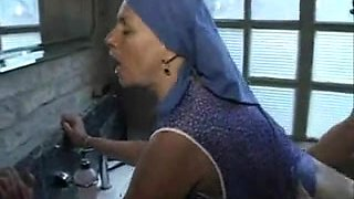 Mature Cleaning Lady With Saggy Tits Fucks In The Toilet With A Stranger