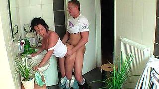 German Step Son Seduce Mom to Taboo Fuck in Bathroom