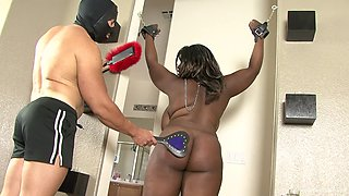 Chubby ass ebony hand cuffed and fucked in rough manners