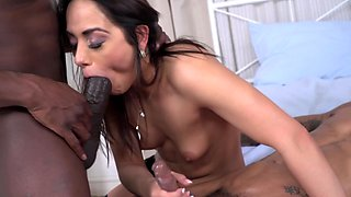 Black guy and friend double penetrate brunette whore in stockings