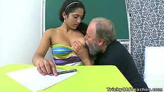 Mulatto college babe with big tits Lara gets eaten by bearded professor