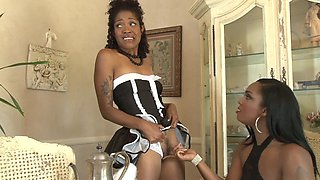 Ebony lesbian orgy with uniform girls fucking