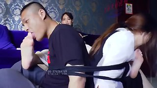 Chinese Femdom Mistress dominates a couple foot humiliation