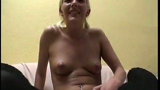 Lewd skinny bitch with small tits lets dude shave her pussy today