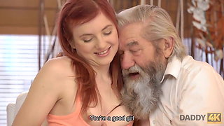 DADDY4K. Lovely redhead has crazy sex with old man while