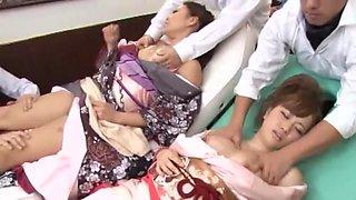 Exotic Japanese model in Incredible Group Sex JAV movie