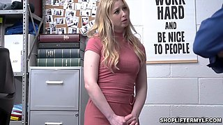 Hot blonde MILF thief hide something in her undies