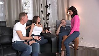 Sexy young Russians having foursome