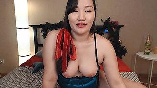 Asian in Blue Lingerie Teasing