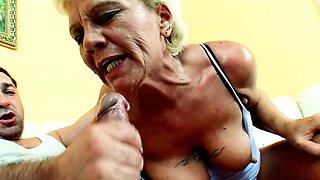 Hairy Nympho Grandma Lisa Rough Fuck by Big Dick Young Guy