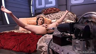 Brunette babe takes machine up her ass