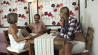Girl involved into old family group sex