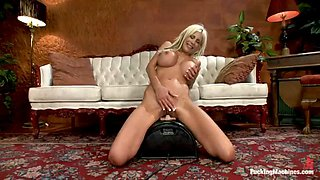 busty blonde's drilled by two machines