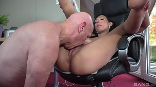 Crazy fucking on the chair between an old man and Adelle Sabelle