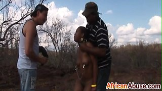 Black slaves tied up and abused for sex in public