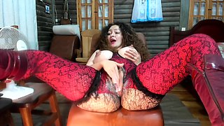 L1ttl3 1zz1 - Milk and Squirt in Red Fishnet Bodystocking