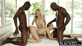 Interracial Foursome for Two Beautiful Blonde Girls