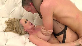Blonde cougar is being banged by her son's best friend