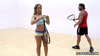 Tennis coach Tommy fucks feet and pussy of seductive young chick Capri Cavanni