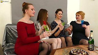 These Four Housewives Go All The Way At Their Party - MatureNL