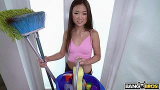 Asian maid Lulu Chu drops her clothes to ride his giant pecker