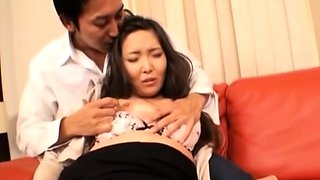 Glamour japanese sweetie gets cuchy loving action