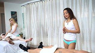 Slippery Dick Massage on Two Dad's Swollen Flesh