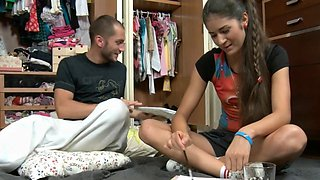 Schlong for a dirty teen maid Katerina B.'s wet poon tang