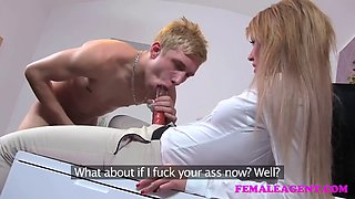 female agent unsuspecting pins in casting pegging dominated
