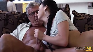 Taboo Sex Of Old Guy And Sweet Brunette Ends With Daphne Klyde