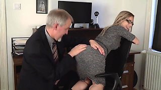 Unqualified Secretary Gets her Ass Eaten by Older Boss