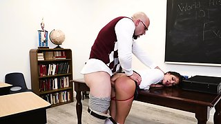 Dirty-minded schoolgirl gets invited into her teachers office