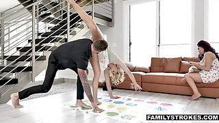 Stepbrother and stepsister gets intimate while playing Twister game