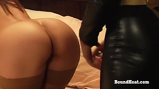 The Education Of Erica: Leather Uniform And Golden Strapon For Two Slaves