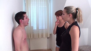 yvonne and lea enjoy spit heavy on their poor slave