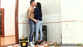 Jizz faced clothed euro